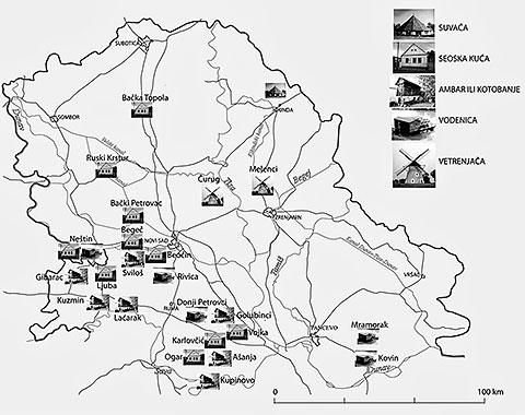 Karta 3. Zakonom zaštićena seoska arhitektura u Vojvodini; Autor: T. Lukić